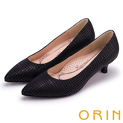 ORIN 典雅輕熟OL 壓紋牛皮素面尖頭中跟鞋-黑色