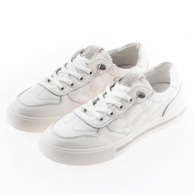 Camille's 韓國空運-正韓製-羊皮貼鑽懶人休閒鞋-白色