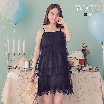東京著衣-YOCO 浪漫俏麗蛋糕層次網紗細肩帶洋裝-XS(共兩色)