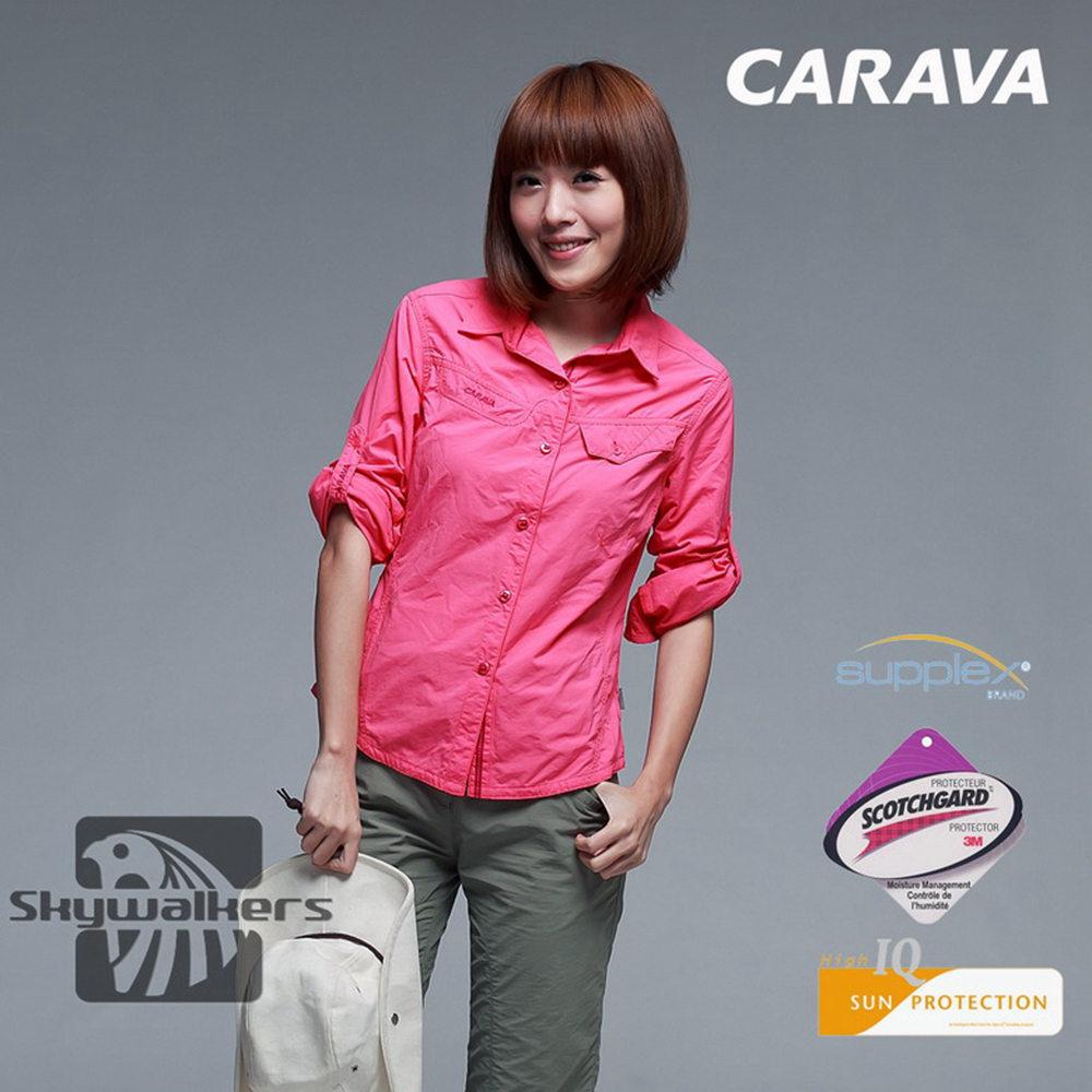 CARAVA《女款Supplex原紗排汗襯衫》(桃紅)