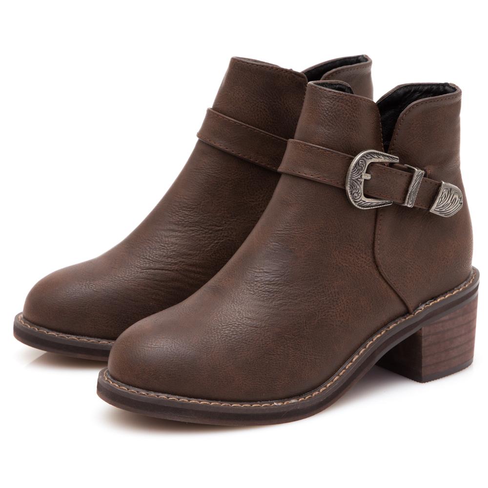 JMS-簡約帥氣側V口復古單扣環短靴-棕色