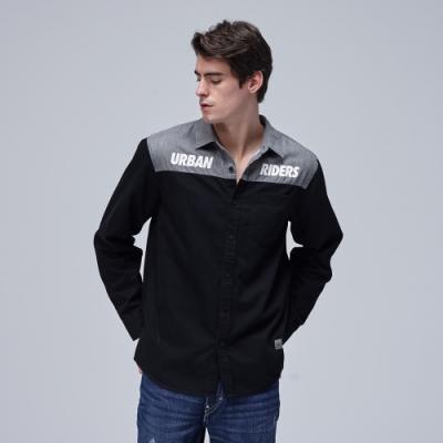Lee 長袖襯衫 灰和黑色拼接文字印刷 男 黑
