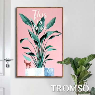 TROMSO北歐時代風尚有框畫-粉紅綠葉WA115
