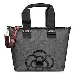 CLATHAS 山茶花裝飾丹寧織布兩用托特包-中/黑色