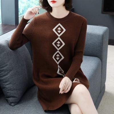 初色  拚色針織連衣裙-共3色-(M-2XL可選)