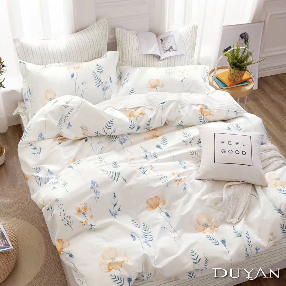 DUYAN竹漾-100%精梳純棉-雙人床包三件組-花開半夏 台灣製