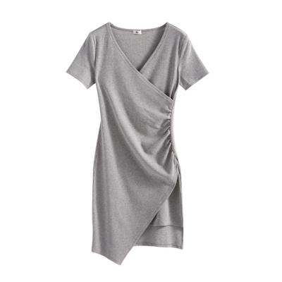 SUPER COLOR 韓版修身不規則裙擺連身短洋裝