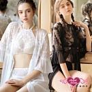 情趣睡衣 花落縹緲 三件式蕾絲半透內衣褲罩衫組(白/黑)AngelHoney天使霓裳