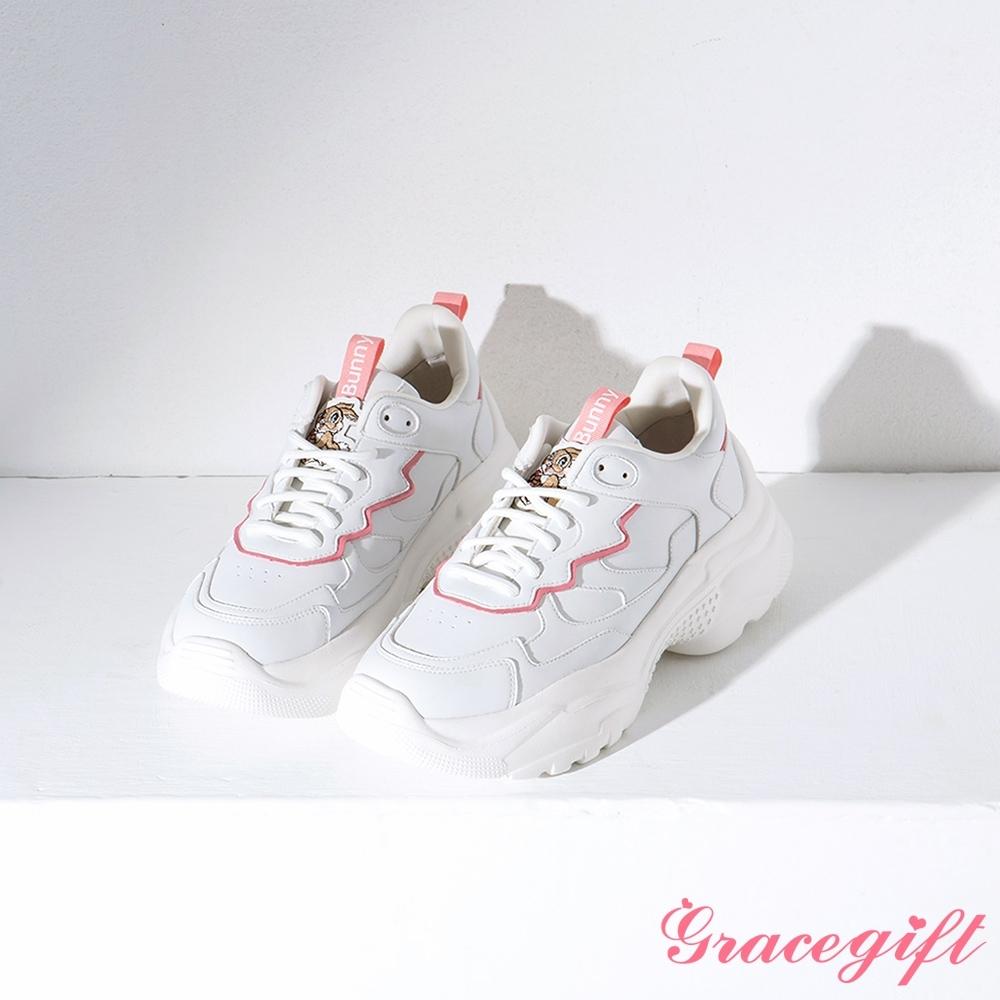 Disney collection by gracegift-櫻花粉嫩角色老爹鞋 白粉