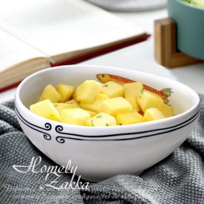 Homely Zakka 創意Lovely fish系列陶瓷餐具_8.25吋三角湯碗