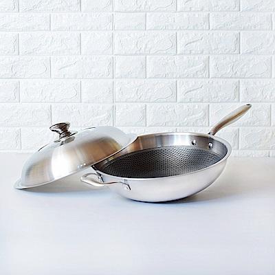 頂尖廚師 316不鏽鋼瓷晶耐磨蜂巢炒鍋36公分