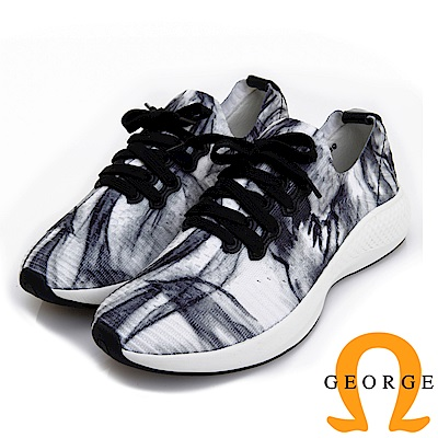GEORGE 喬治皮鞋 詩情畫意彈性布直套式休閒鞋 (女) -黑