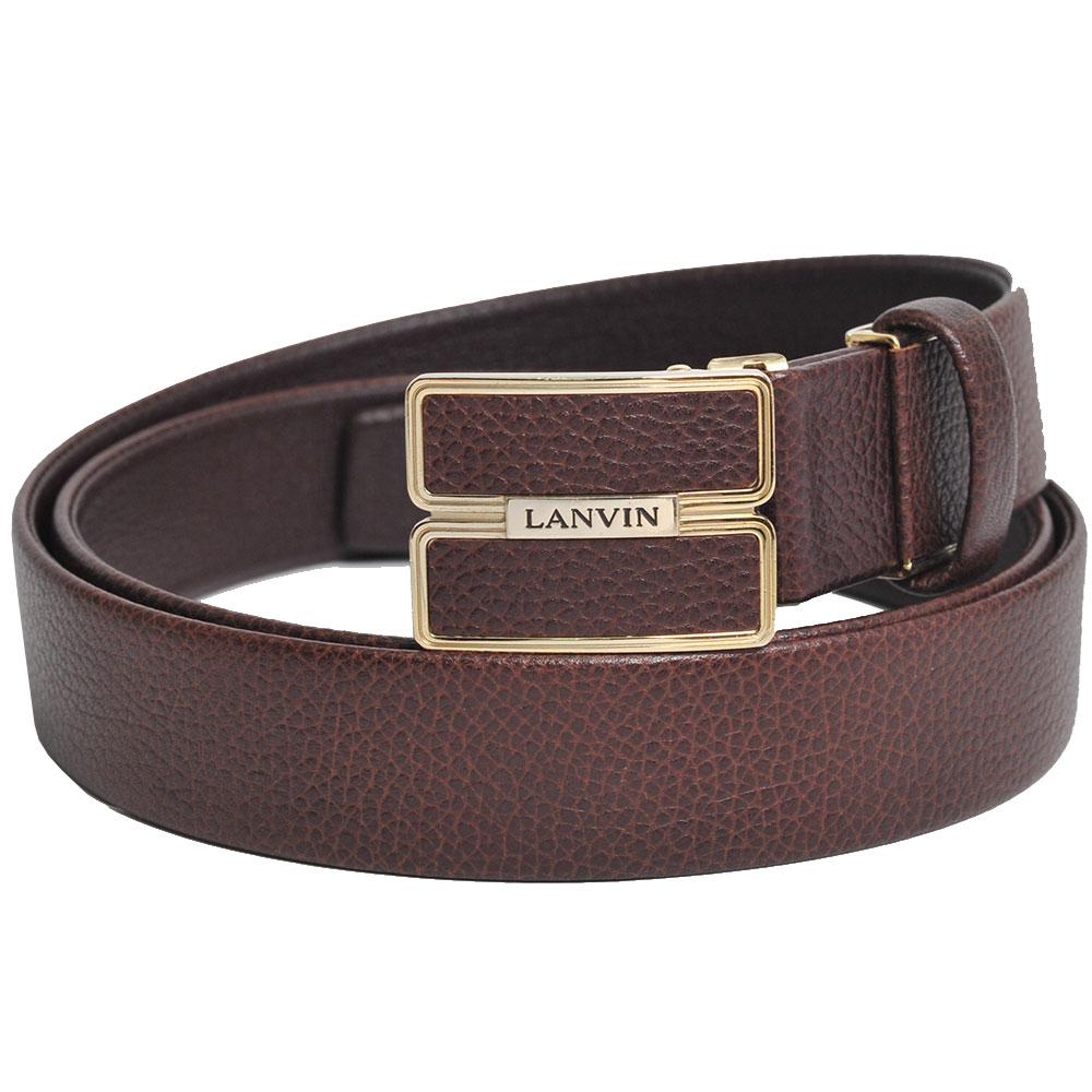 LANVIN 品牌字母LOGO皮帶頭環荔枝壓紋皮帶(深咖啡)