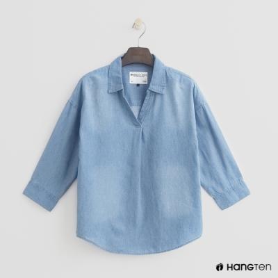Hang Ten - 女裝 - 小開領丹寧刷色襯衫 - 淺藍