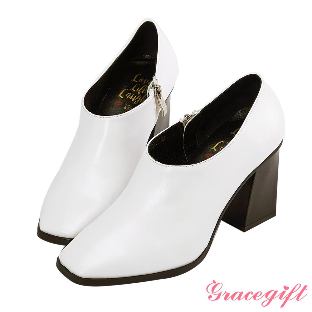 Grace gift X Kerina妞妞-方頭設計感踝靴 白