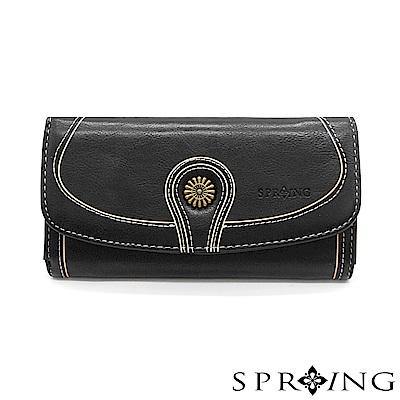 SPRING-日光系列-釦式長夾-優雅黑