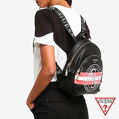 GUESS-女包-撞色字母logo印刷後背包-黑