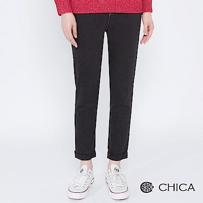 CHICA 純淨淬鍊配色縫線黑丹寧長褲(1色)