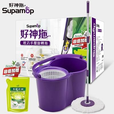 (時時樂)好神拖 輕巧手壓拖把組(1拖1桶2布)+贈茶樹莊園地板清潔劑700g