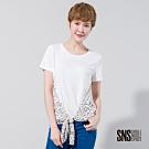 SNS 星空派對雪紡綁帶拼接短袖T恤(2色)