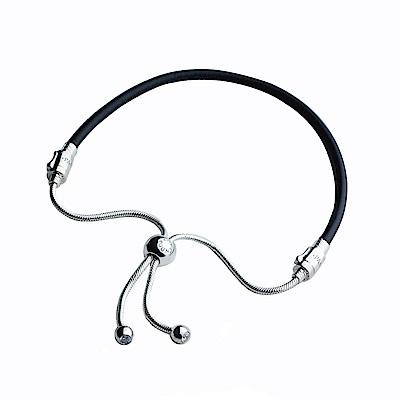 Pandora 黑皮繩銀鍊銜接式手鍊