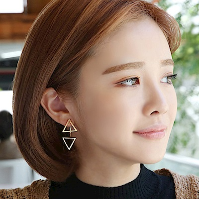 梨花HaNA 韓國925銀上下三角型時髦空間耳環金色