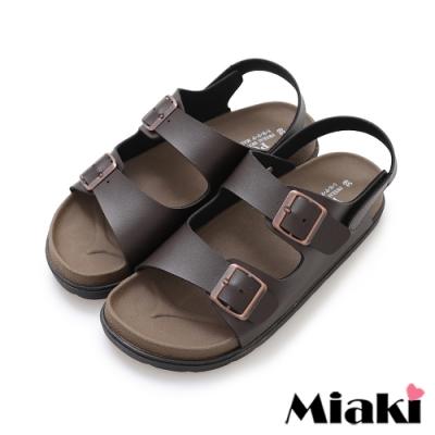 Miaki-涼鞋MIT仲夏穿搭皮質平底涼拖-咖啡