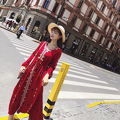 威尼斯紅刺繡棉麻長洋裝-S~XL-維拉森林