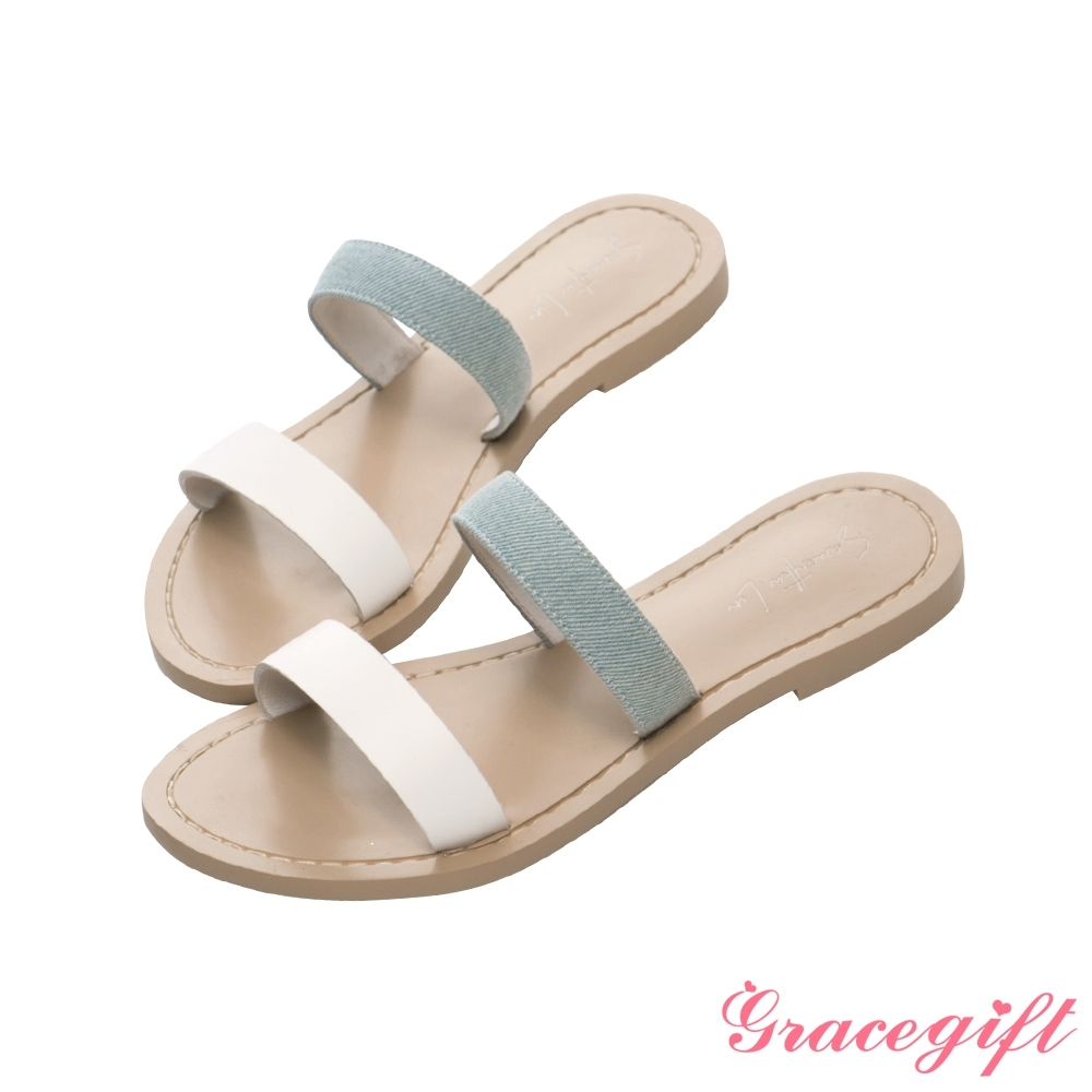 Grace gift X Samantha-聯名雙條帶平底涼拖鞋 白