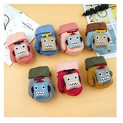 韓版 雙加厚兒童機器人保暖手套