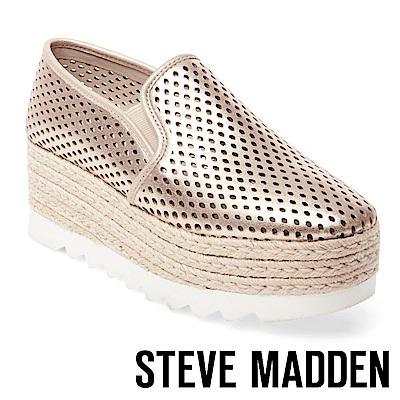 STEVE MADDEN-KARA 簍空厚底麻編鞋-金色
