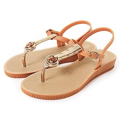 GRENDHA 瑪瑙石華麗T字帶涼鞋-褐色