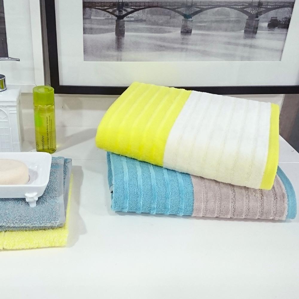 日本丸真 土耳其棉橫紋禮盒兩件組-黃色(方巾+浴巾)