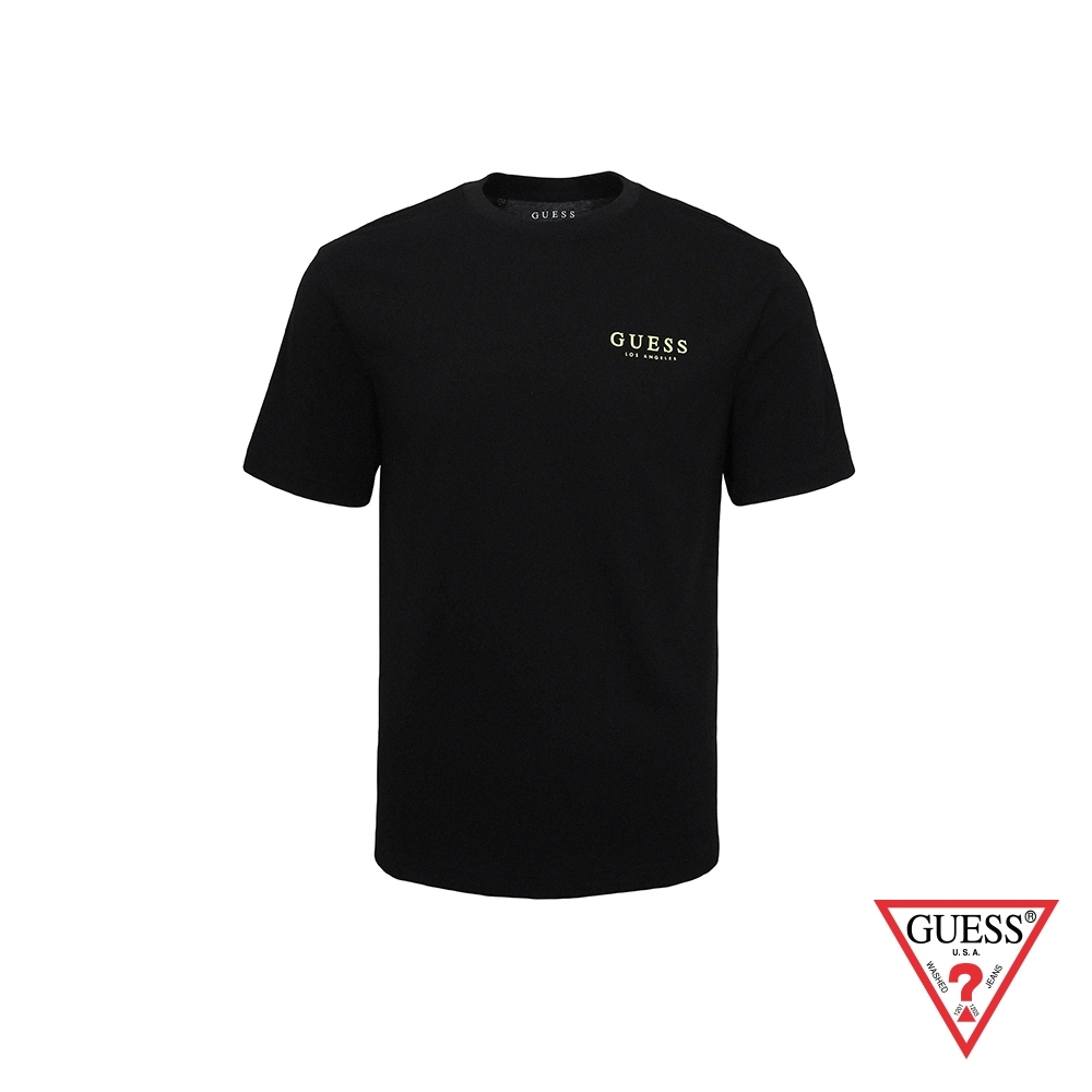 GUESS-男裝-經典素面LA印字短T,T恤-黑 原價1290