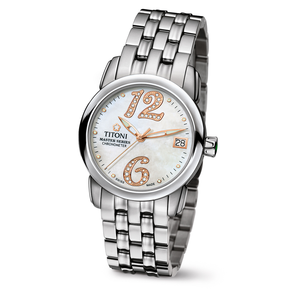 TITONI瑞士梅花錶 大師系列晶鑽女錶-天文台認證23588 S-331R/33.5mm