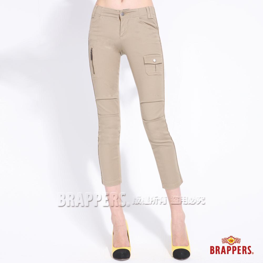 BRAPPERS 女款 女休閒系列-女用彈性前片側袋及後袋車拉鍊九分褲-卡其