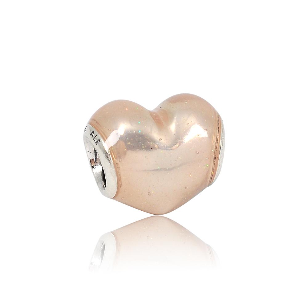 【福利品】PANDORA 潘朵拉 亮粉色琺瑯愛心 純銀墜飾 串珠