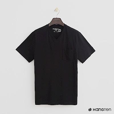Hang Ten - 男裝 - 有機棉-小口袋V領素面T恤 - 黑