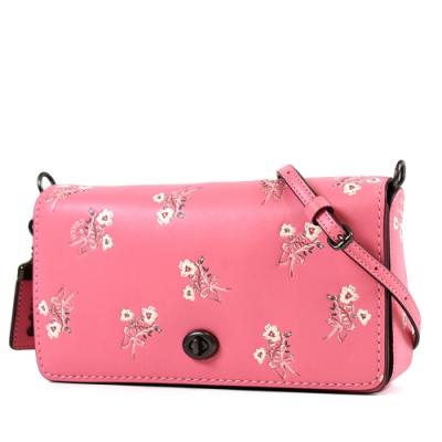 COACH 專櫃款 DINKY 亮粉花束小牛皮旋鈕斜背包-粉色