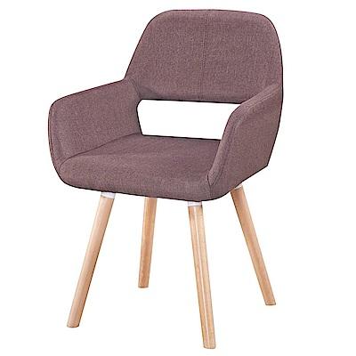【AT HOME】現代輕奢華設計咖啡布餐椅實木腳(54*53*80cm)莫妮