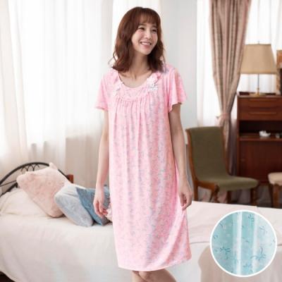 華歌爾睡衣-樂舒眠 M圓領短袖家居裙裝(藍綠)