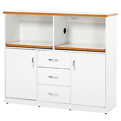 綠活居 阿爾斯環保4.2尺塑鋼二門三抽餐櫃/收納櫃-127x42x112cm免組