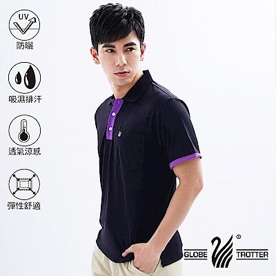 【遊遍天下】MIT台灣製男款吸濕排汗抗UV機能POLO衫S101黑色