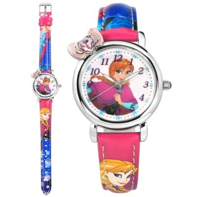 Disney 迪士尼 冰雪奇緣 Anna 蝴蝶結 兒童卡通 皮革手錶-淺紫x藍/30mm