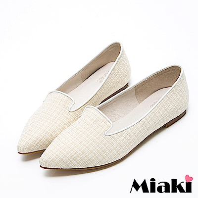 Miaki-紳士鞋真皮日式女伶和風尖頭低跟包鞋 米