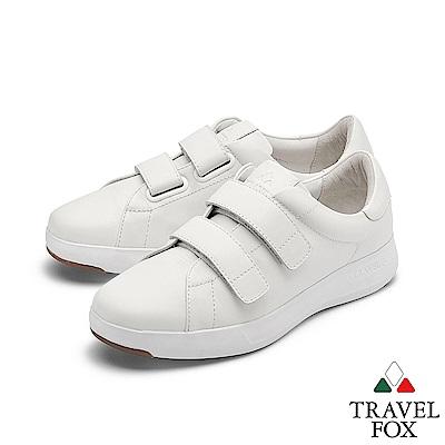 TRAVEL FOX(男) 輕雲系列 超軟牛皮雙側扣輕量舒適運動鞋 - 無痕白