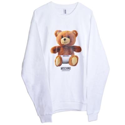 MOSCHINO 希臘製可愛小熊LOGO圖騰100%棉質長袖T恤(白色)
