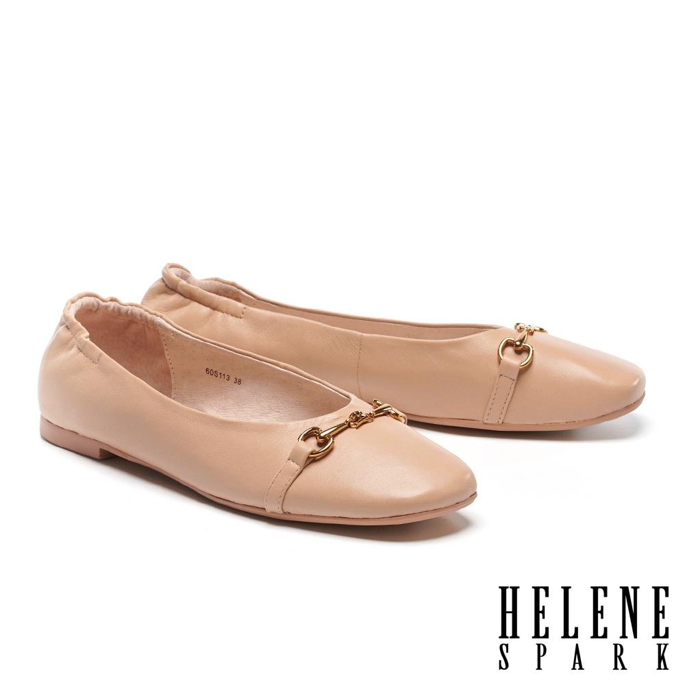 平底鞋 HELENE SPARK 舒適質感馬銜釦全真皮方頭平底鞋-米