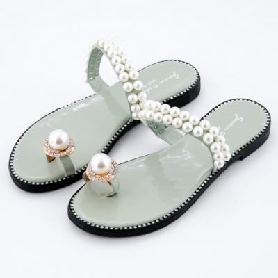 River&Moon拖鞋 名媛奢華珍珠水鑽夾趾平底涼拖 綠