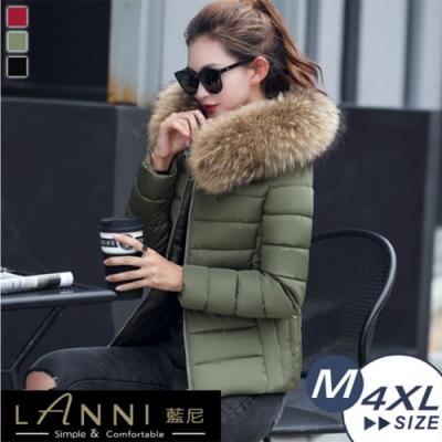 【LANNI 藍尼】時尚加厚短版羽絨棉外套(可拆卸毛領)●
